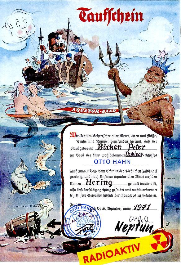 Taufschein der Äquatortaufe